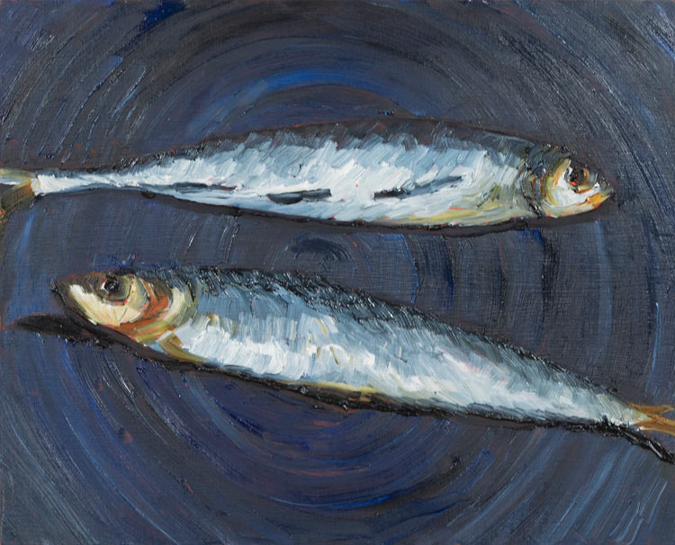 Washed up - Two pilchards on a blue plate, 2020, oil on timber, 23 cm h x 28 cm w