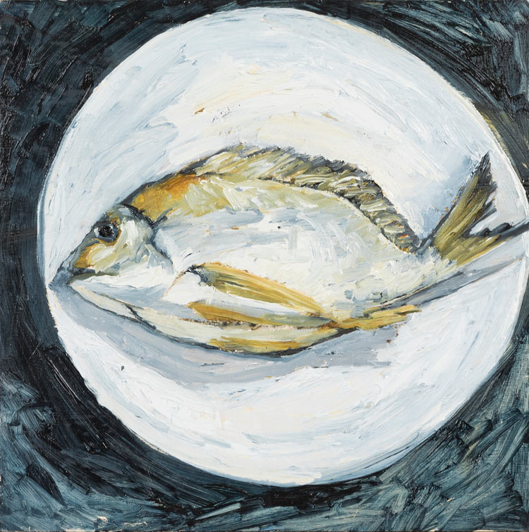 Washed up – Bream, oil on timber, 30cm x 30cm