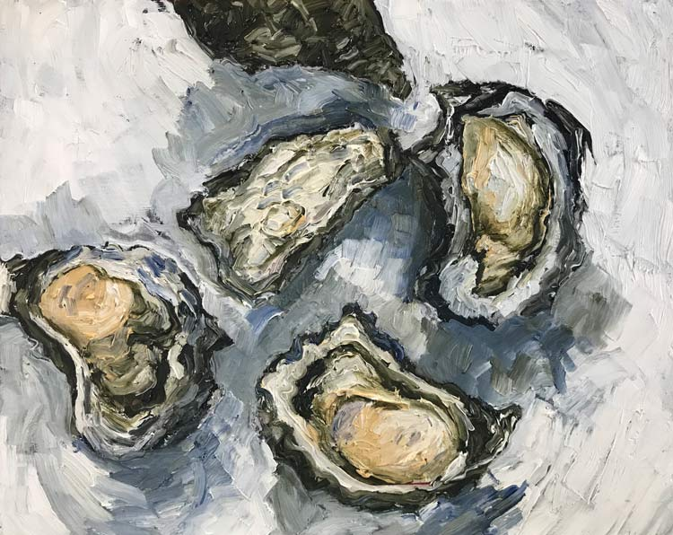 Five Oysters, 2021, oil on timber, 25 cm high x 30 cm wide