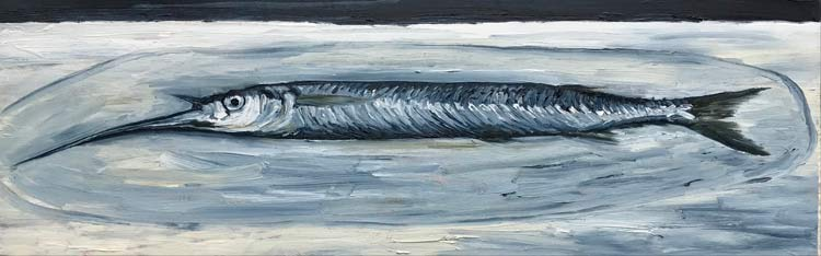 Garfish on a plate, 2021, oil on timber, 15 cm high x 50 cm wide