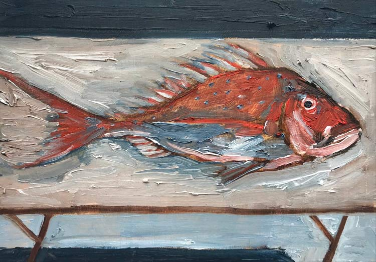 Laid Bare, 2021, oil on timber, 20 cm high x 25 cm wide