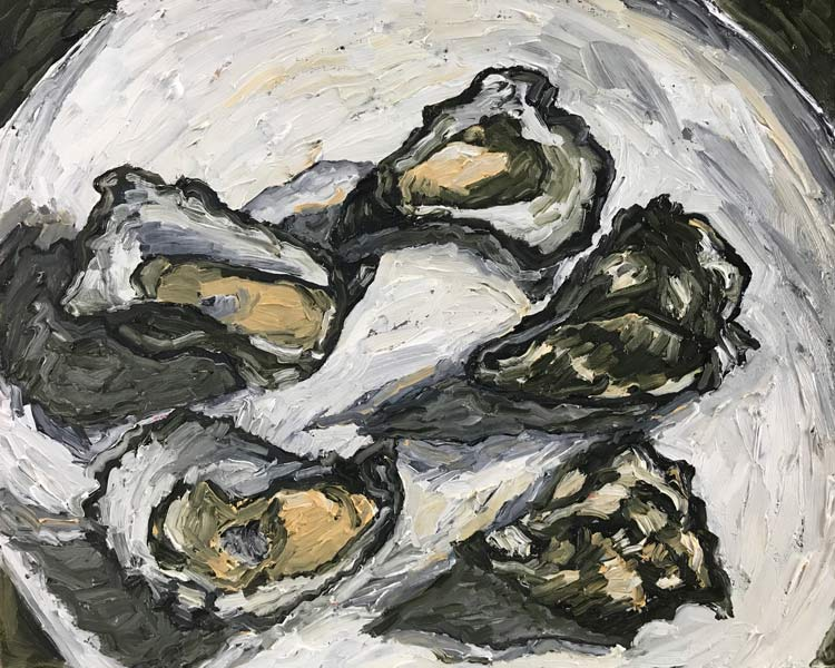 Oysters on a Plate, 2021, oil on timber, 25 cm high x 30 cm wide