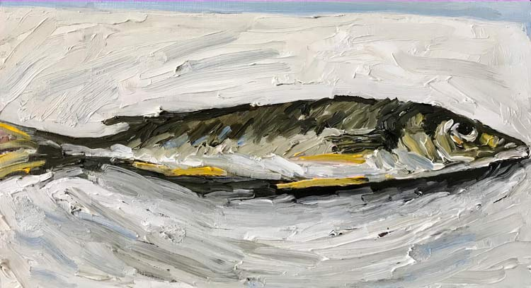 Small Whiting, 2021, oil on timber, 15cm high x 25 cm wide