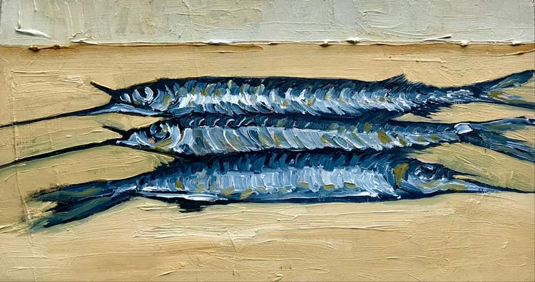 Three Garfish on Yellow, 2021, oil on timber, 11 cm high x 18 cm wide
