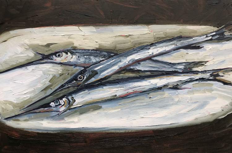 Three Garfish on a Plate, 2021, oil on timber, 30 cm high x 50 cm wide