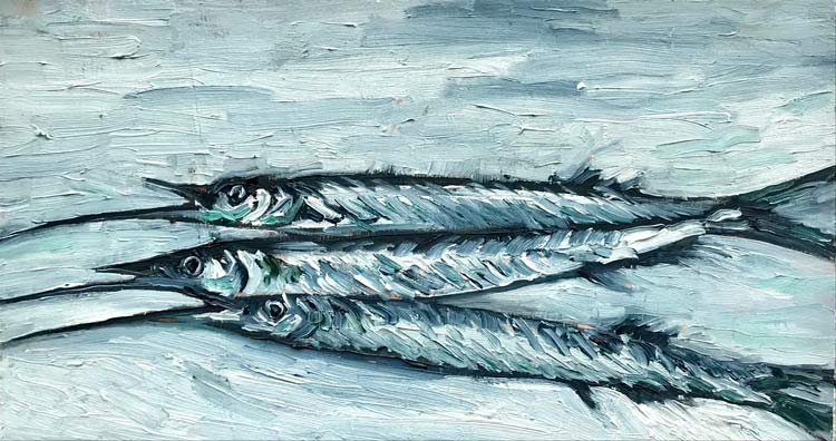 -Three Garfish on blue, 2021, oil on timber, 11 cm high x 18 cm wide